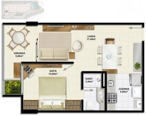 Planta baixa do apartamento de 1 quarto, Tipo C1 com 43,73m² do Ondina Choice Residence