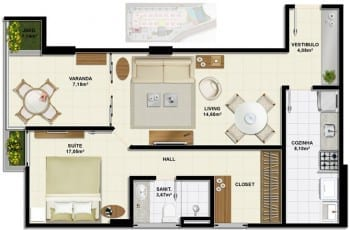 Planta baixa do apartamento de 1 quartos, Tipo B com 56,56m² do Ondina Choice Residence