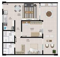 Planta baixa do apartamento 2 quartos, apartamentos de 108 à 1408 do 5.ª Avenida Residence