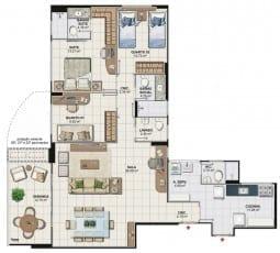 Planta baixa do apartamento 3 quartos com home office da Torre Cezanne, colunas 01 e 04 do Art Residence