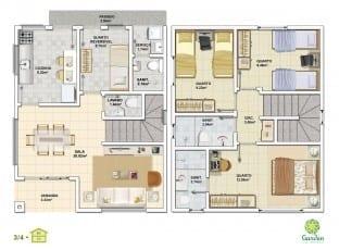 Planta baixa - 3 quartos com Pavimento Inferior - Tipo 01 e Pavimento Superior - Tipo 01