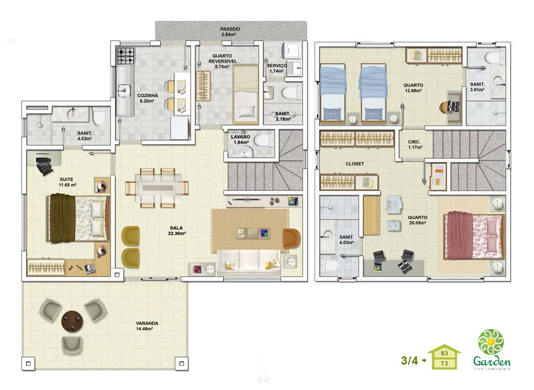 Planta baixa 3 quartos com pavimento inferior tipo 03 for Plantas de casas tipo 3