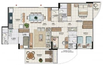 Planta baixa do apartamento 3 quartos com cozinha gourmet da Torre Cezanne, colunas 02 e 03 do Art Residence