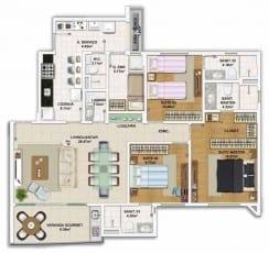 Planta baixa do apartamento 3 quartos, todos suítes com 113,77 m²