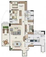 Planta baixa do apartamento 4 quartos com sala ampliada, colunas 01 e 04 da Torre Monet