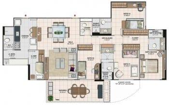 Planta baixa do apartamento 4 quartos com 144,82 M2 da Torre Monet, 1º ao 18º pavimento, colunas 02 e 03 do Art Residence