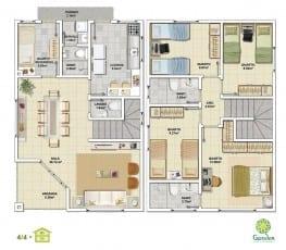 Planta baixa - 4 quartos com Pavimento Inferior - Tipo 01 e Pavimento Superior - Tipo 01