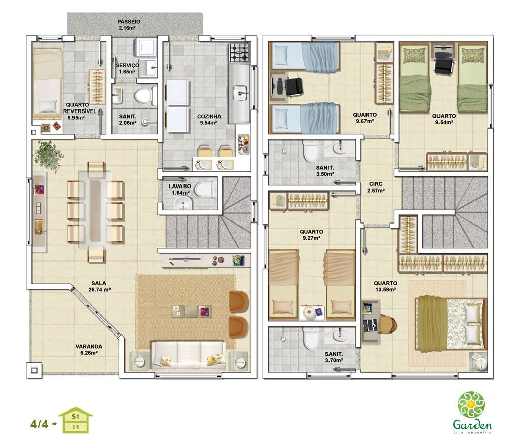 Planta baixa 4 quartos com pavimento inferior tipo 01 for Jardins mangueiral planta 3 quartos