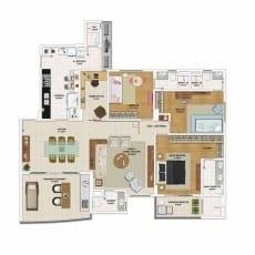 Planta baixa do apartamento 4 quartos, todos suítes, opção de planta por Foguel Reis Sá - 155,95 m²