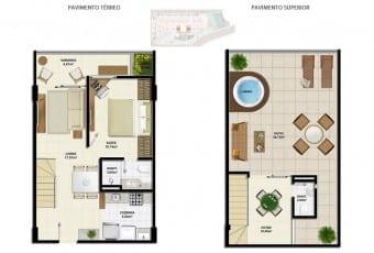 Planta baixa do apartamento cobertura C com 95,07m² do Ondina Choice Residence