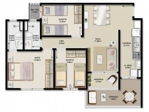 Planta baixa da unidade GARDEN 77,94m2 e apartamentos 001, 004, 005 e 008