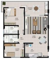 Planta baixa do apartamento 2 quartos de 101 à 1401 com 71,73m² do 5.ª Avenida Residence