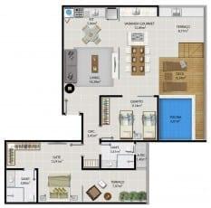 Planta baixa do apartamento cobertura 1504 do 5.ª Avenida Residence