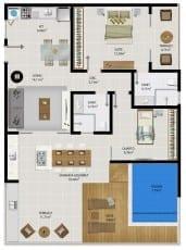 Planta baixa do apartamento cobertura 1506 do 5.ª Avenida Residence