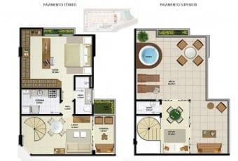 Planta baixa do apartamento cobertura A com 110,94m² do Ondina Choice Residence