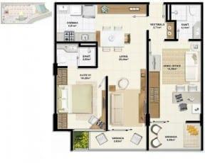 Planta baixa do apartamento de 1 quarto com home office 2 em 1 - 70,27m²