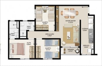 Planta baixa do apartamento Tipo D do Itapuã Parque - 65,43m² - Pav. Tipo - Aptos finais n° 01, 04, 05 e 08.