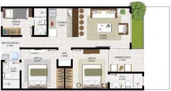 Planta baixa empreendimento - Opção 3 quartos térreo - 73,43m2