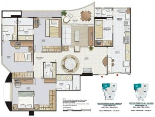 Planta Baixa Residencial Amazon - Aquarius com 123,44m²