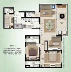 Planta baixa - Tipo C - 2 suítes, lavabo, living ampliado (home Theater) e dependências completas - área privativa de 108,46m2