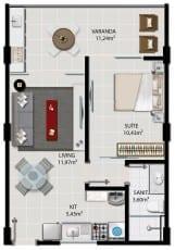 Planta Decorada 1 Quarto, Apartamentos 102 à 1402, 103 à 1403, 104 à 1404, 105 à 1405, 106 à 1406 Área privativa 42,69 m²