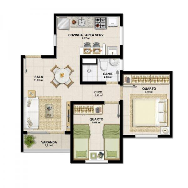Planta tipo - 2 quartos - 46,5m²