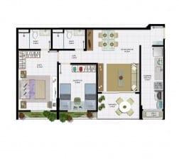 2 quartos com varanda e área útil de 69,32 m² do empreendimento.