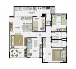 3 quartos com dependência e área útil de 86,10 m² do empreendimento.