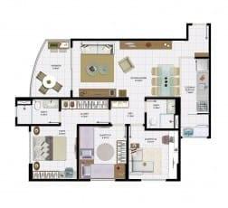 3 quartos com varanda e área útil de 79,96 m² do empreendimento.