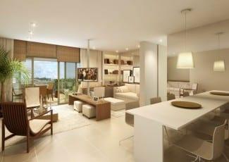 Apartamento perspectiva ilustrada do living Lis