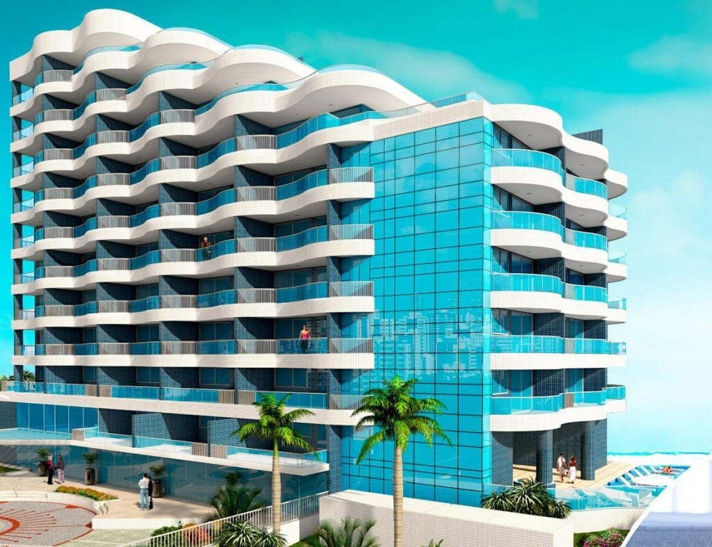 Perspectiva da fachada do empreendimento Wave Exclusive Apartments.