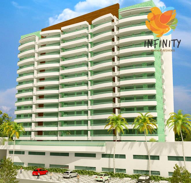 Perspectiva fachada do empreendimento Infinity Ecologic Residence.