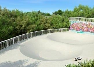 Perspectiva ilustrada da pista de skate