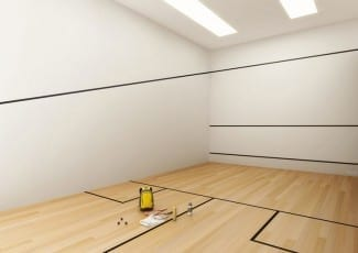Perspectiva ilustrada da quadra de squash