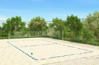 Perspectiva ilustrada da quadra de vôlei de areia