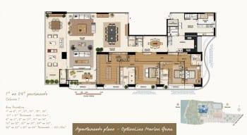 Planta baixa do imóvel de luxo - Apartamento Pleno - 1º ao 34º do empreendimento.