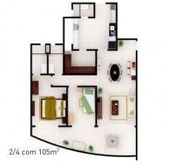 Planta baixa do empreendimento com 105 m² - 2 quartos