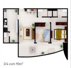 Planta baixa do empreendimento com 90 m² - 2 quartos