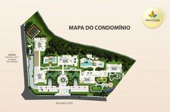 Planta baixa do mapa do condomínio do empreendimento.