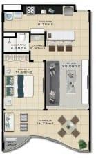 Planta Baixa do empreendimento com 63 m² Tipo 10