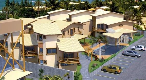 Perspectiva aérea da fachada do Terraces Bella Vista.