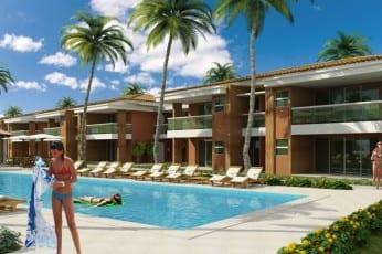 Perspectiva da fachada do apartamento de 3 quartos do condomínio Ponta de Inhambupe, localizado em uma das melhores praias da Bahia, Praia de Baixio.