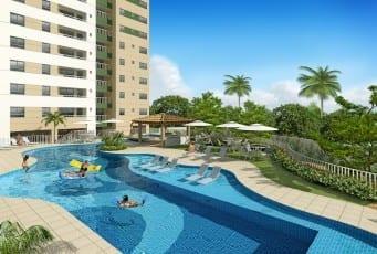 Perspectiva da piscina do Vila Allegro