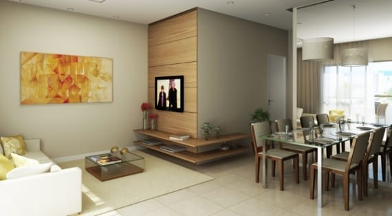 Perspectiva do living Residencial Paradiso