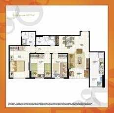 Planta Baixa - 3 quartos com 68,79m2 do empreendimento.