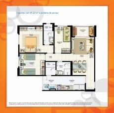 Planta Baixa - 3 quartos com 69,35m2 e sanitário de serviço do empreendimento.