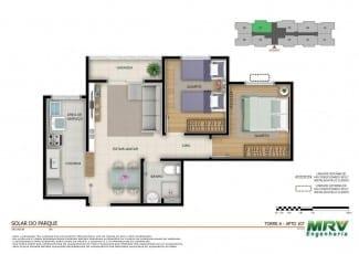 Planta baixa - Apartamento 2 quartos - opção 03