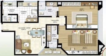 Planta baixa - Apartamento Tipo 01 - 101 a 901 - 2 suítes com dependências completas