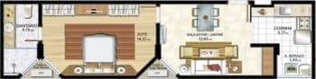 Planta baixa - Apartamento Tipo 02 - 102 a 902 - Quarto e Sala