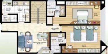 Planta baixa - Apartamento Tipo 04 - Cobertura 1001 - Pavimento Inferior